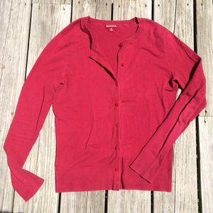 Merona Red Button Up Long Sleeve Cardigan